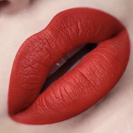 Matte red lip